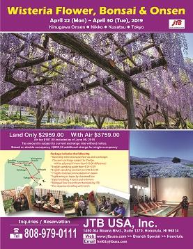 Wisteria Flower, Bonsai & Onsen Tour (Kinugawa Onsen, Nikko, Kusatsu & Tokyo)  Apr 22 (Mon) ~ Apr 30 (Tue), 2019