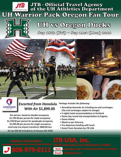 UH Warrior Pack Oregon - Eugene Fan Package<br><br> <i>UH vs Oregon Ducks</i><br> <b>JTB - Official Travel Agency of UH Athletics</b><br> <br> September 18th (Fri) – September 21st (Mon) 2020