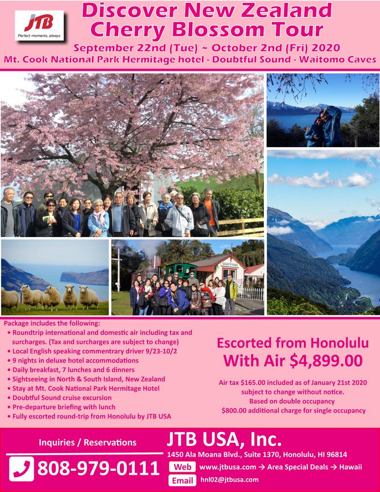 Discover New Zealand Cherry Blossom Tour<br><br> <i>Mt. Cook National Park – Hermitage hotel</i><br> <i>Doubtful Sound Cruise</i><br> <br> Sep 22 (Tue) ~ Oct 2 (Fri), 2020