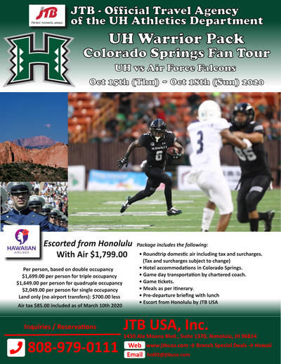 UH Warrior Pack Colorado Fan Package<br><br> <i>UH vs Air Force Falcons</i><br> <b>JTB - Official Travel Agency of UH Athletics</b><br> <br> October 14th (Wed) – October 18th (Sun) 2020