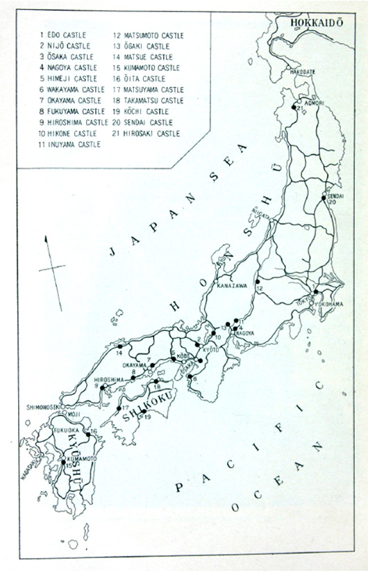 Map of main castles still standing in Japan